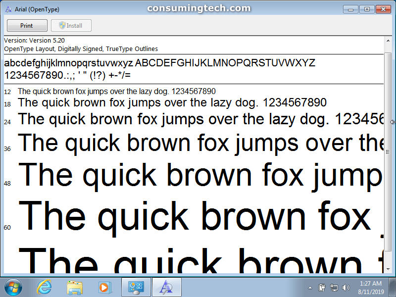 Arial font preview in Notepad