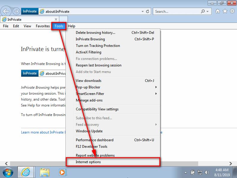 Internet Explorer -- Tools, Internet Options