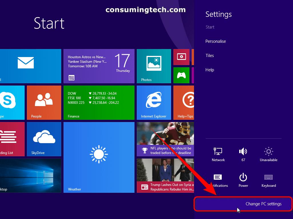 Change PC settings - charms bar