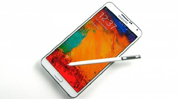 Note 3 white with stock wallpaper