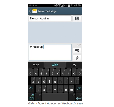 Galaxy Note 4 Autocorrect Keyboards issue