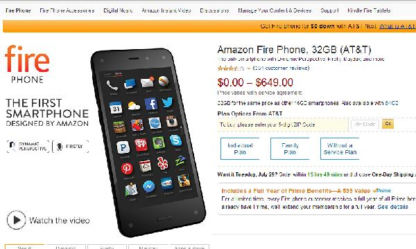 Amazon page Fire Phone