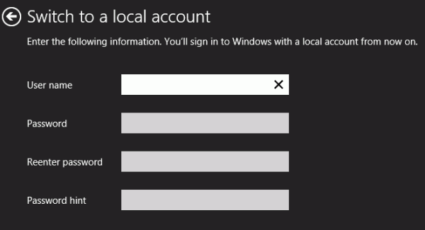 Switch to local account