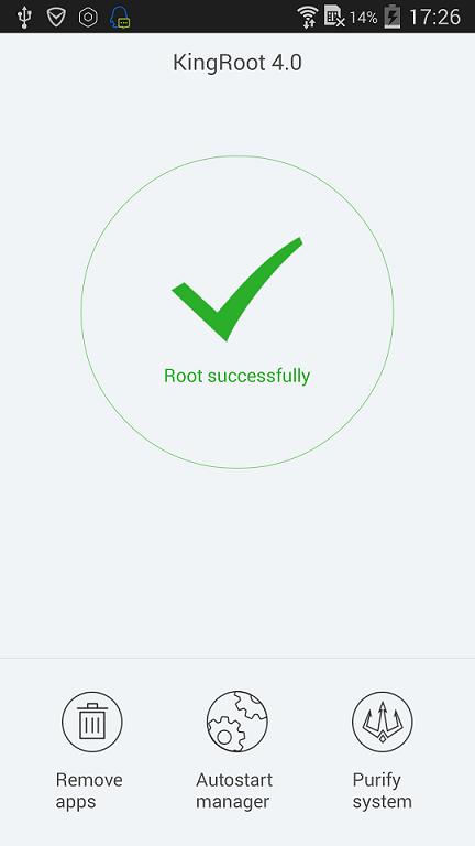 KingRoot success screen