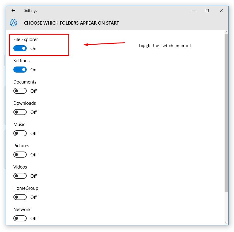 Windows 10 File Explorer toggle