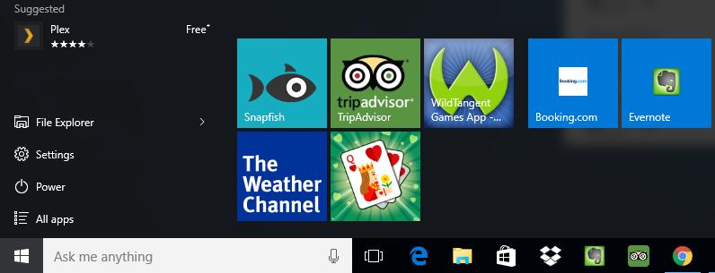 Windows 10 start menu