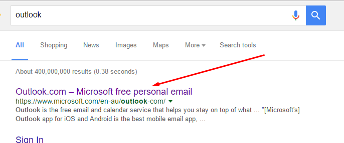 outlook-google-results