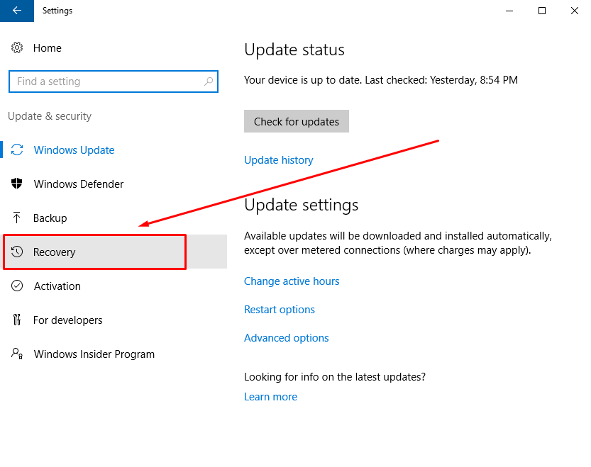 recovery-update-security-windows-10