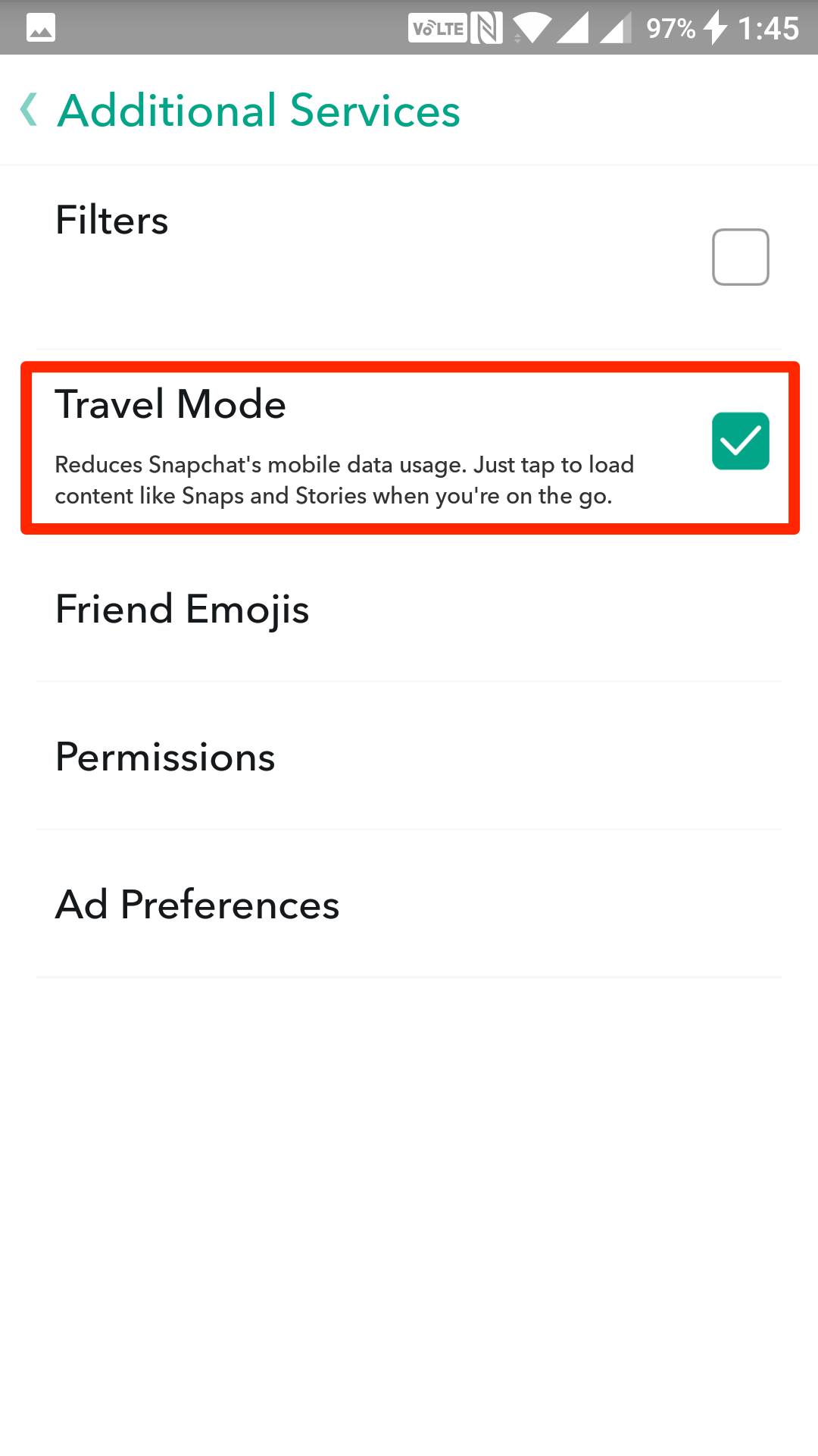 snapchat-battery-travel-mode