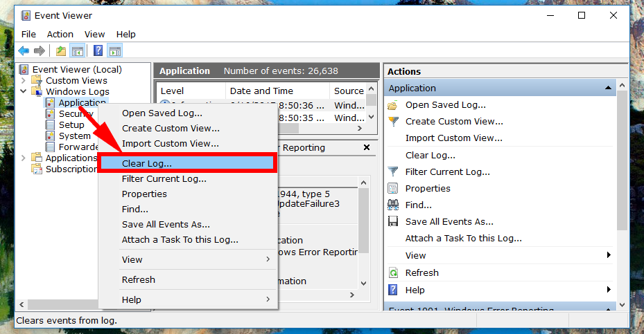 clear windows event log cmd