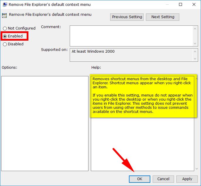 Add/Remove File Explorer Default Context Menu in Windows 10