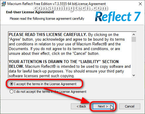 Macrium Reflect terms and conditions