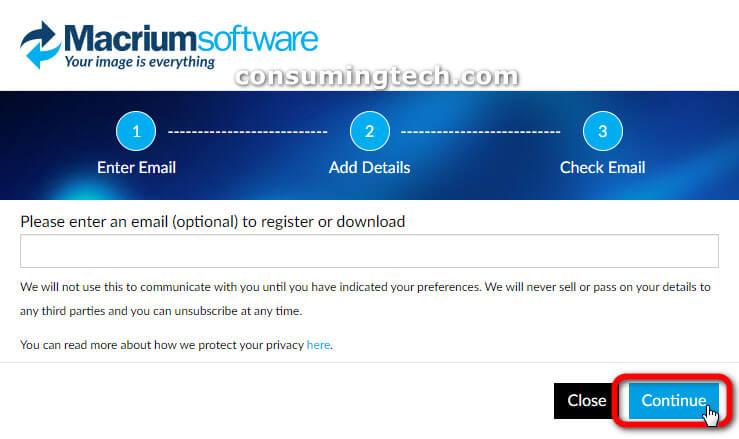 Macrium Reflect software: Enter an optional email