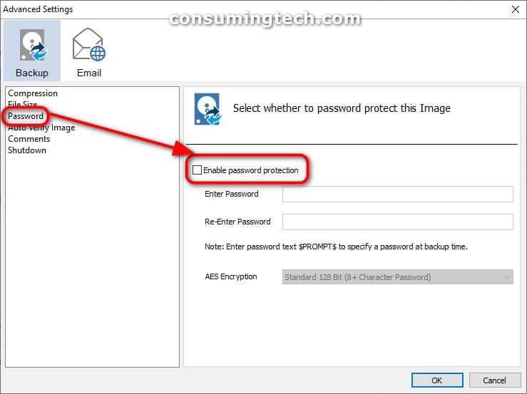 Macrium Advanced Settings: Password