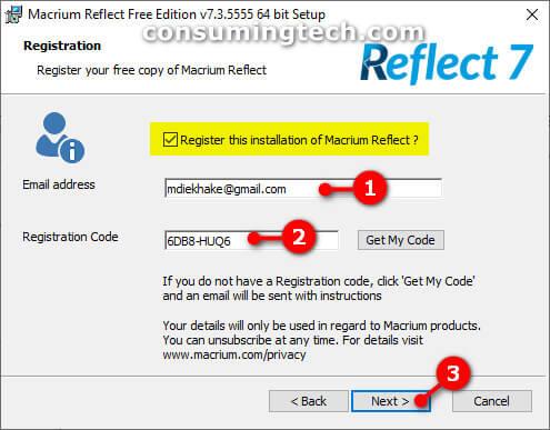 Macrium Reflect registration