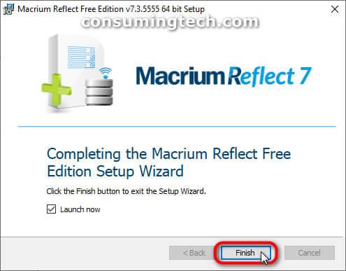 Macrium Reflect: Complete setup wizard