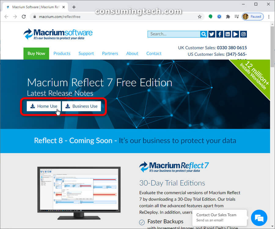 Macrium Reflect software: Home use/Business use