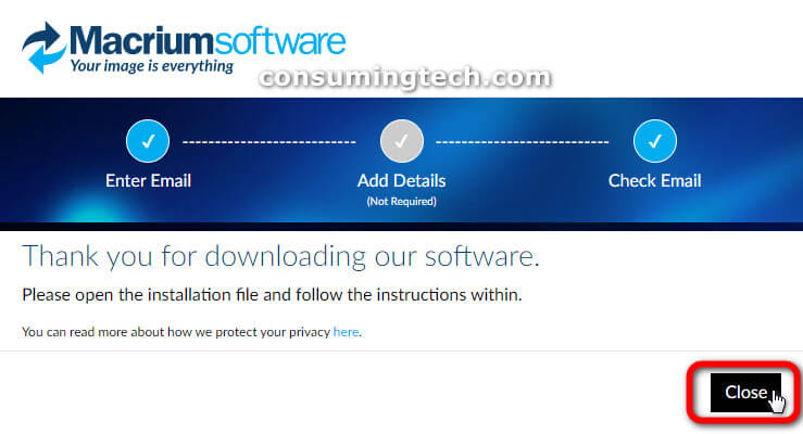 Thank you for downloading Macrium Reflect software