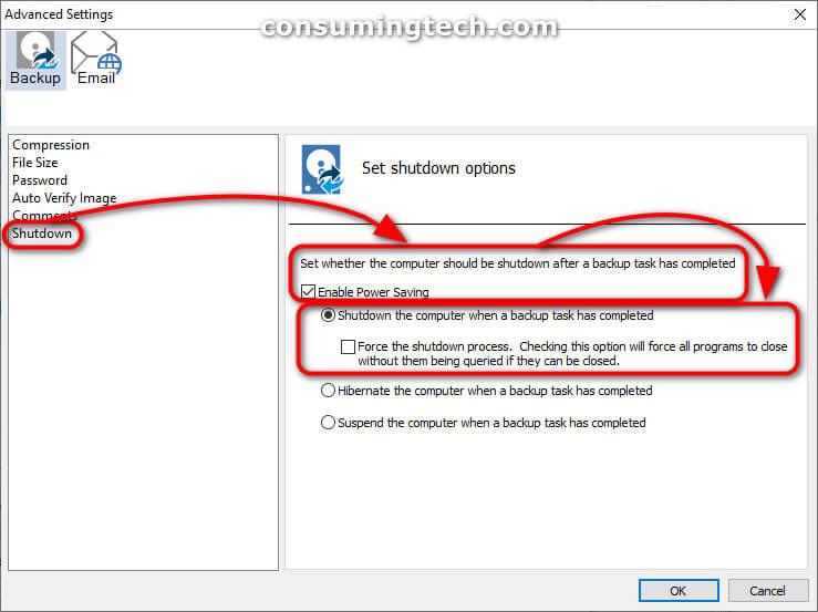 Macrium Advanced Settings: Shutdown