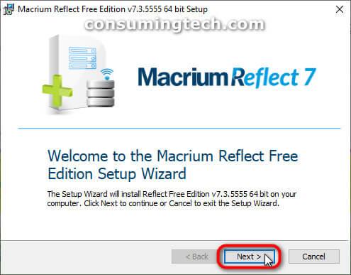 Macrium Reflect setup wizard