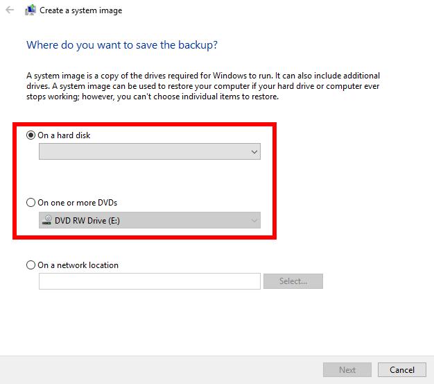 Save backup -- hard disk, drive, network