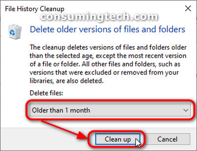 Delete older versions of files and folders: Older than one month