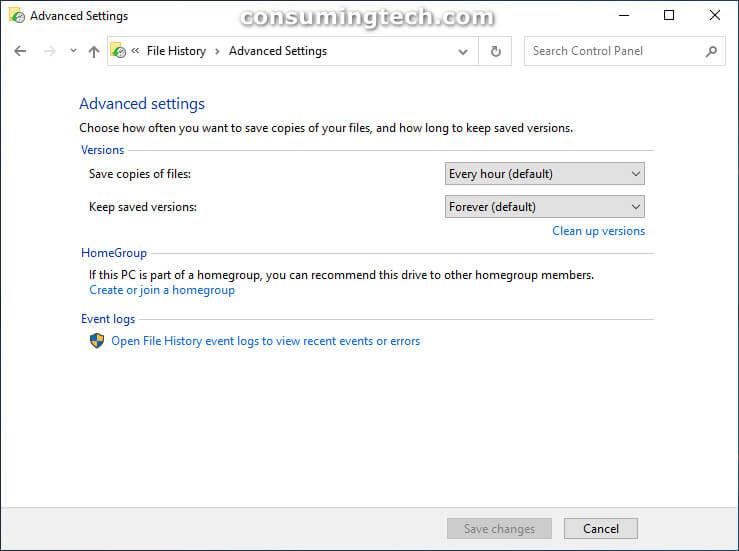 File History via Control Panel: Advanced Settings