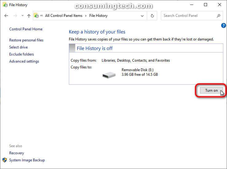 File History via Control Panel: Turn on
