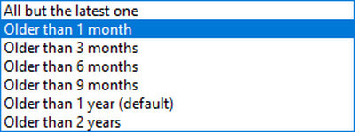 Select: Keep files for older than one month