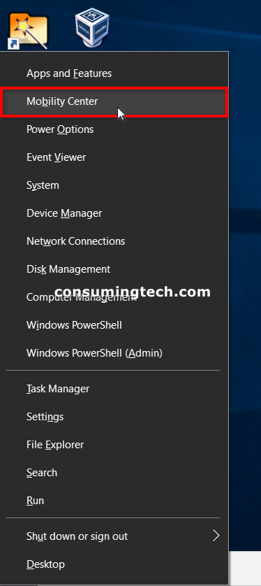 Windows Mobility Center from Power User menu