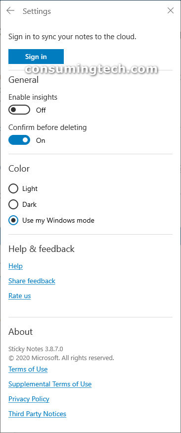 Sticky Notes Windows 10: Settings page