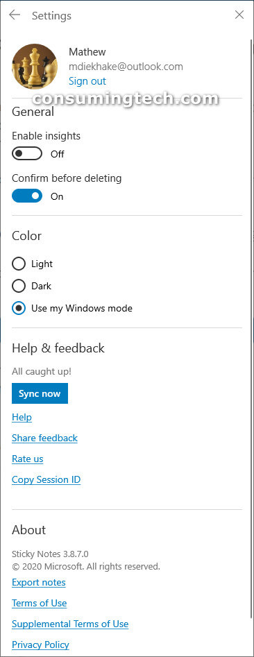 Sticky Notes Windows 10: signed in via Settings page