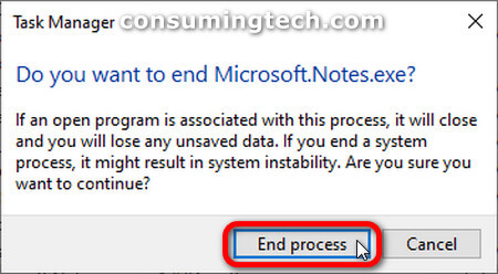 Task Manager: Do you want to end Microsoft.Notes.exe