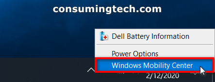 Windows Mobility Center in the taskbar