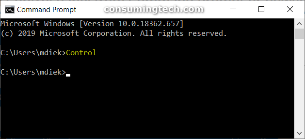 Command Prompt: Control command
