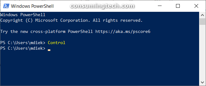 Windows PowerShell: Control command