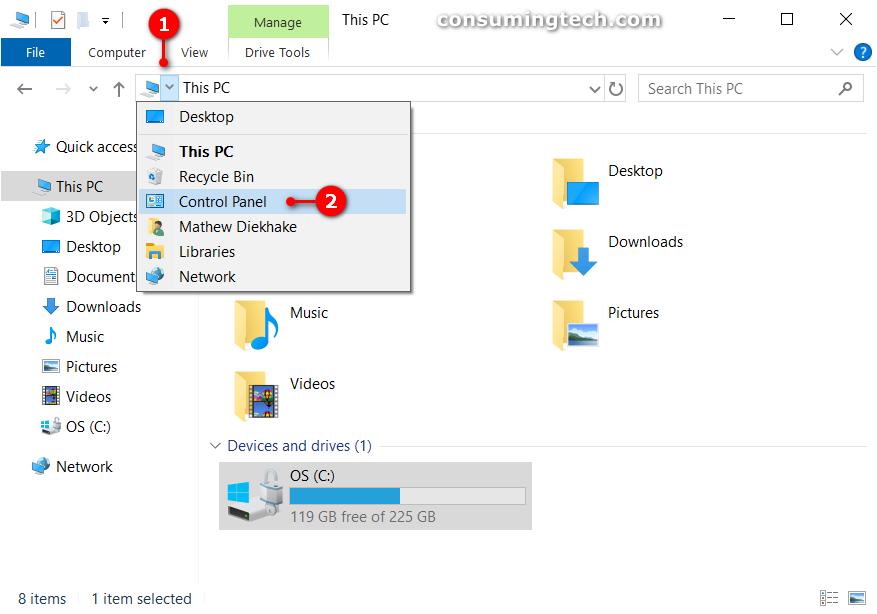 File Explorer: This PC > Control Panel