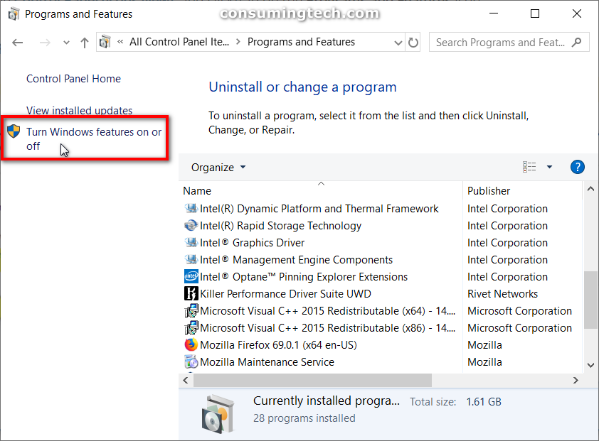 Programs and Features: Turn Windows features on or off