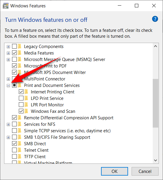 Expanding additional optional Windows features