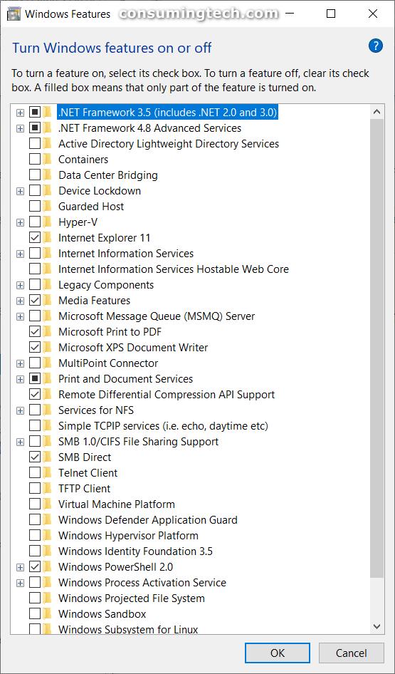 Windows Features dialog