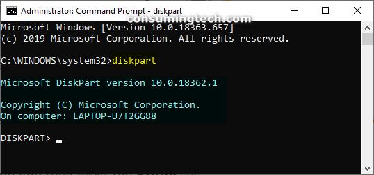 Command Prompt: Diskpart