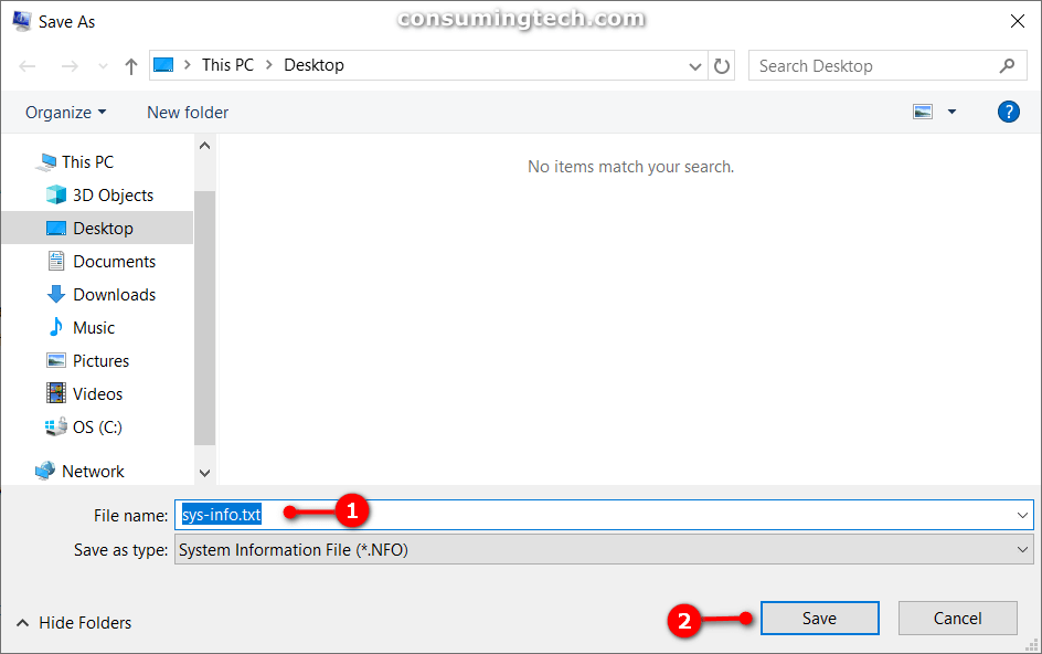 Save System Information as a text (txt) file