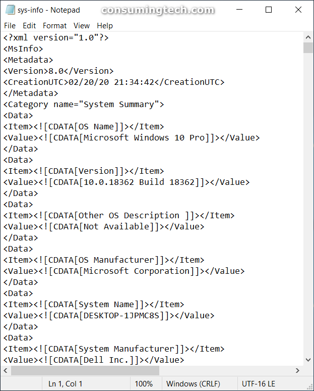 System Information opened in Notepad