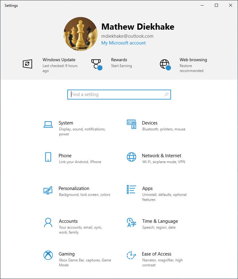 Main Windows Settings menu in Windows 10