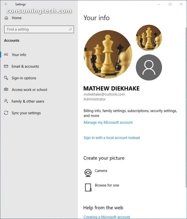 Windows 10 Settings: Accounts
