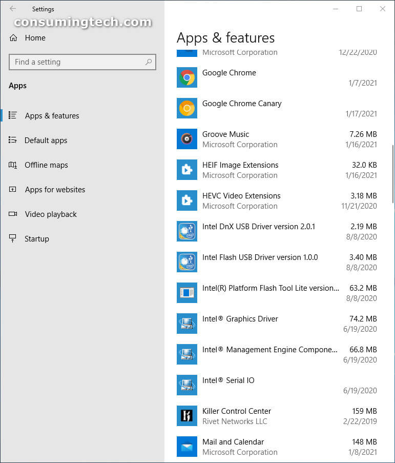 Windows 10 Settings: Apps