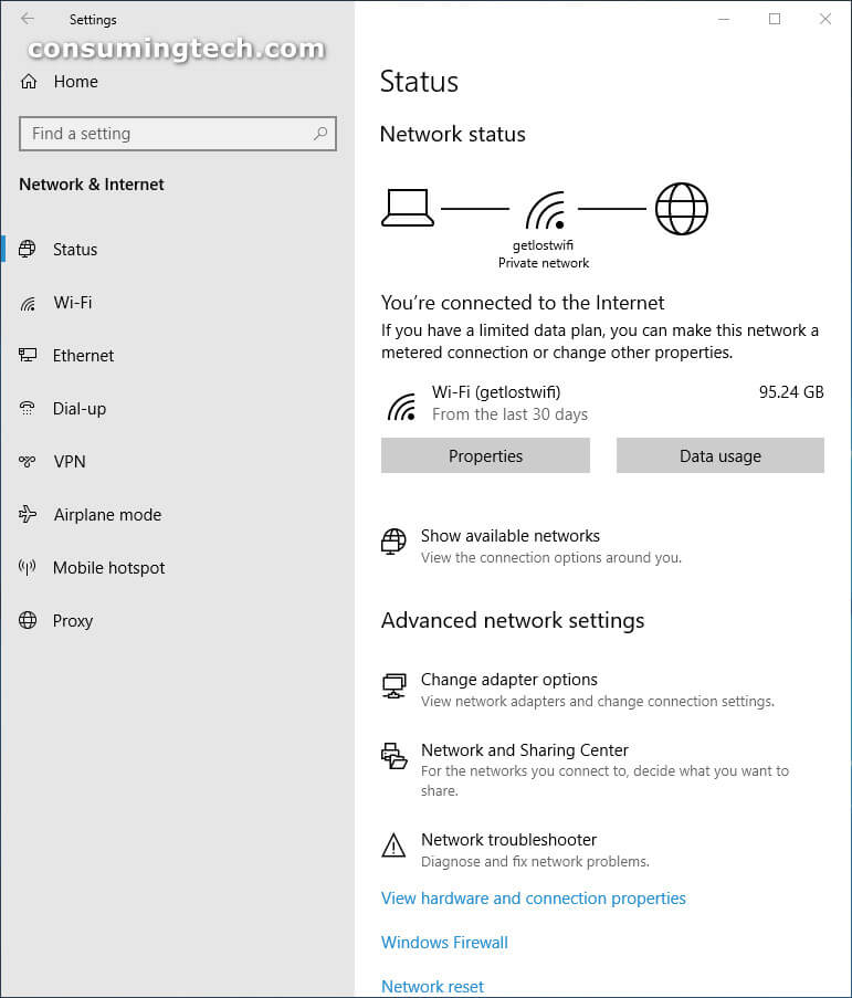 Windows 10 Settings: Network and Internet