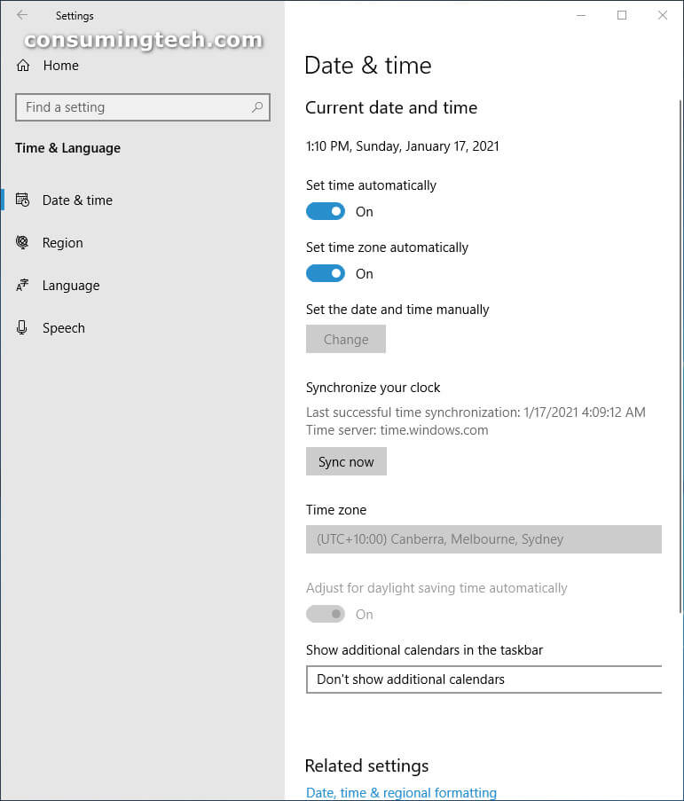 Windows 10 Settings: Time and Language