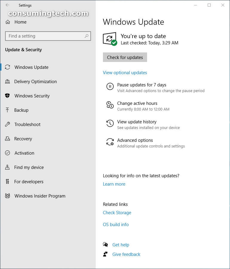 Windows 10 Settings: Update and Security