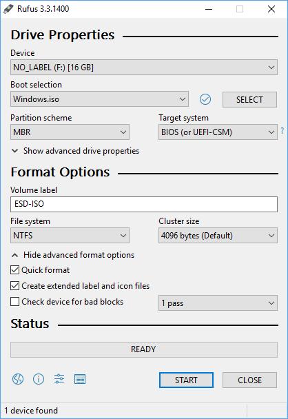 Rufus: Format options